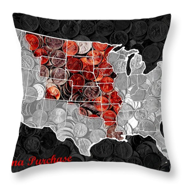 Louisiana Purchase Coin Map . v1 Throw Pillow by Wingsdomain Art and Photography