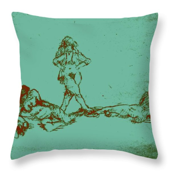 Lounging Nude Females Throw Pillow by Sheri Parris