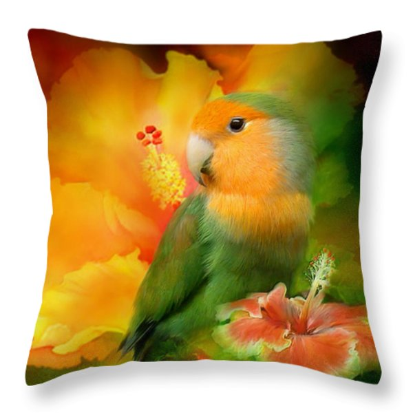 Love Among The Hibiscus Throw Pillow by Carol Cavalaris