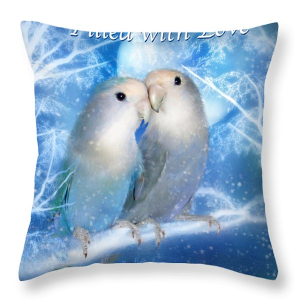 Love At Christmas Card Throw Pillow by Carol Cavalaris