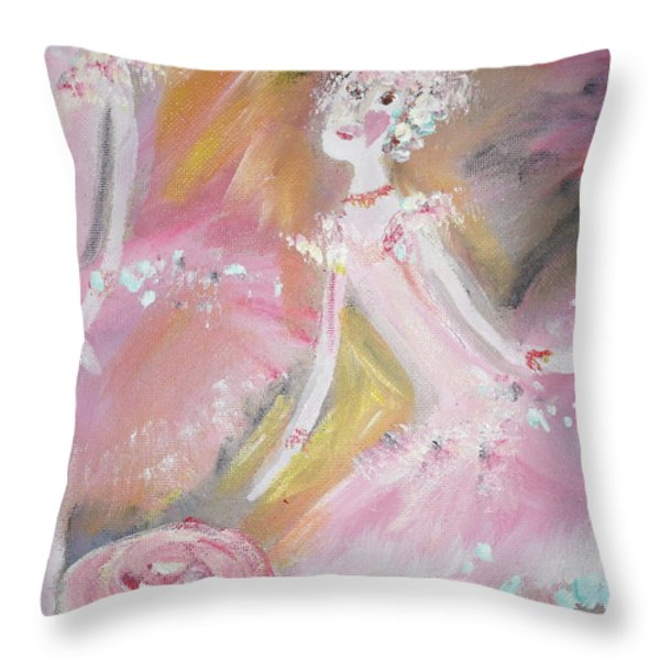 Love Rose Ballet Throw Pillow by Judith Desrosiers