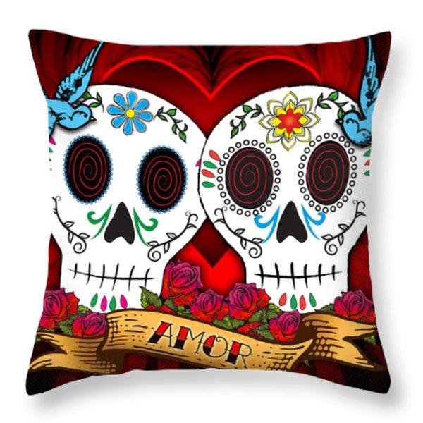 Love Skulls Throw Pillow by Tammy Wetzel