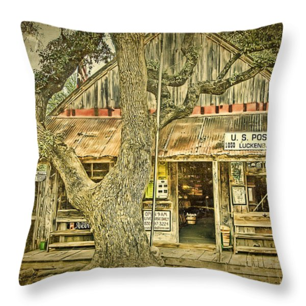 Luckenbach Aged Throw Pillow by Scott Norris