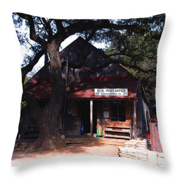 Luckenbach Texas - II Throw Pillow by Susanne Van Hulst