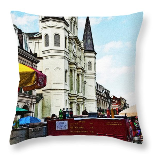 Lucky Dogs and St. Louis Cathedral Throw Pillow by Kathleen K Parker