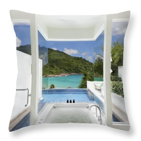 Luxury Bathroom  Throw Pillow by Setsiri Silapasuwanchai