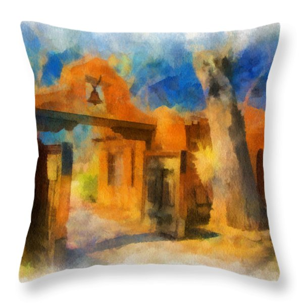 Mabel's Gate watercolor Throw Pillow by Charles Muhle
