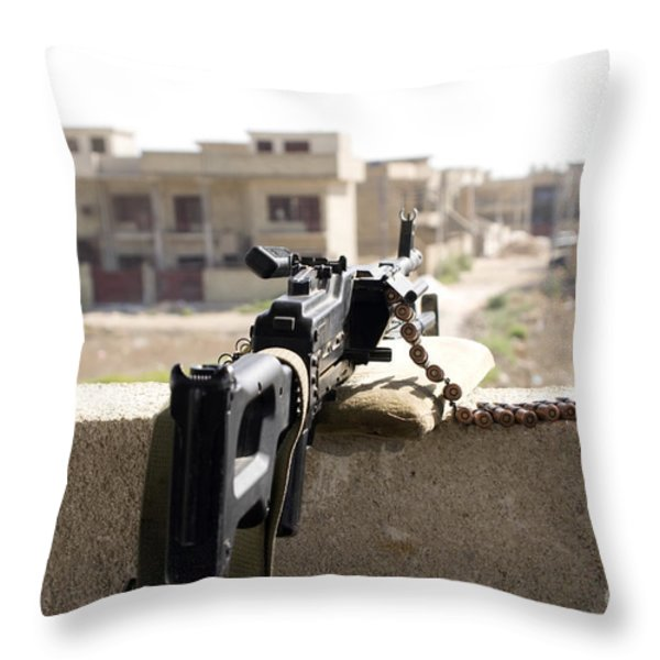 Machine Gun Post At A Prison Throw Pillow by Terry Moore