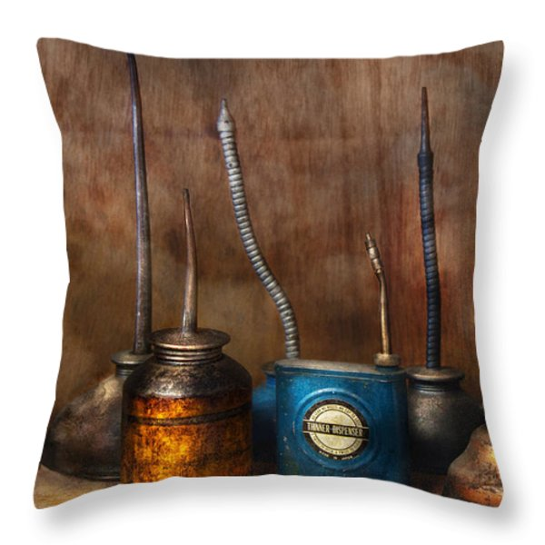 Machinist - Tools - Lubrication Dispensers  Throw Pillow by Mike Savad
