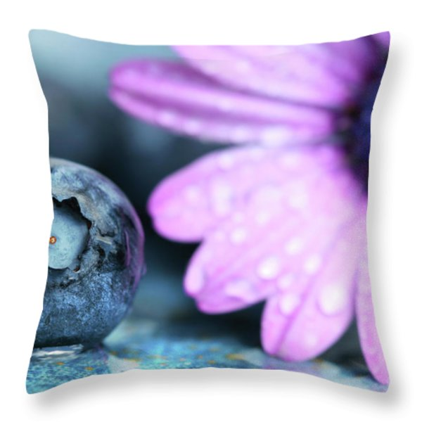 Macro Shot Of A Blueberry Throw Pillow by Sandra Cunningham