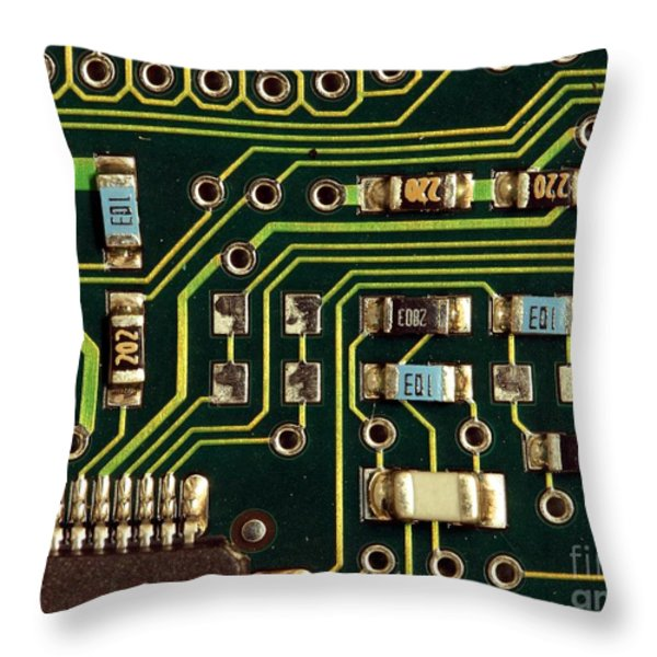 Macro View of a Computer Motherboard Throw Pillow by Yali Shi