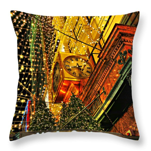 Macy's Christmas Lights Throw Pillow by Randy Aveille