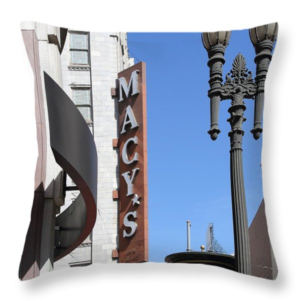 Macys Department Store in San Francisco Throw Pillow by Wingsdomain Art and Photography