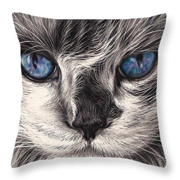 Mad Cat Throw Pillow by Elena Kolotusha