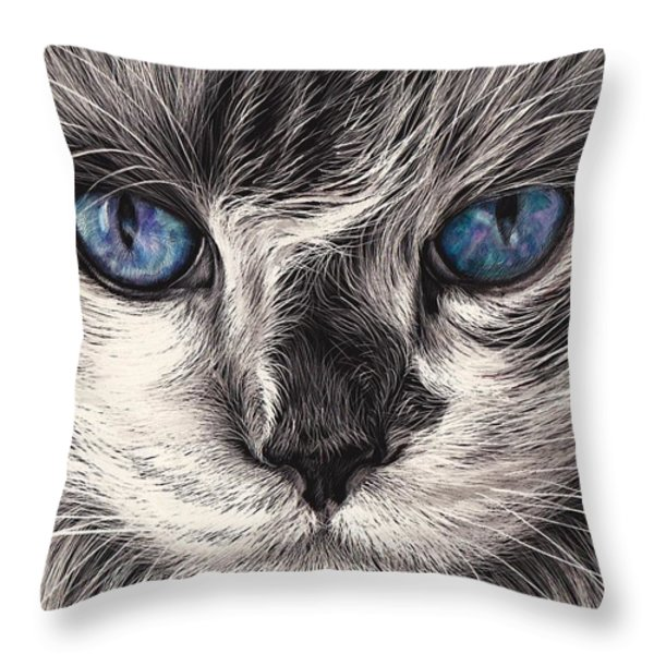 Mad Cat Throw Pillow by Elena Kolotusha