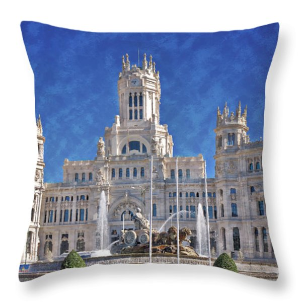 Madrid City Hall Throw Pillow by Joan Carroll