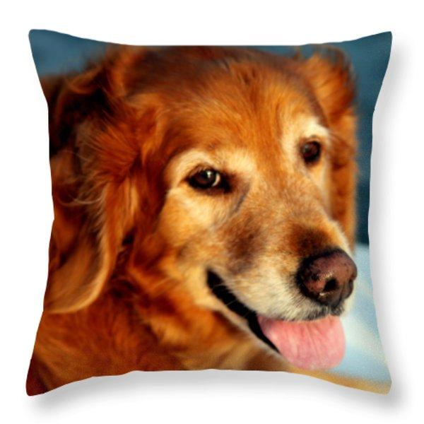 Maggies Smile Throw Pillow by Karen Wiles
