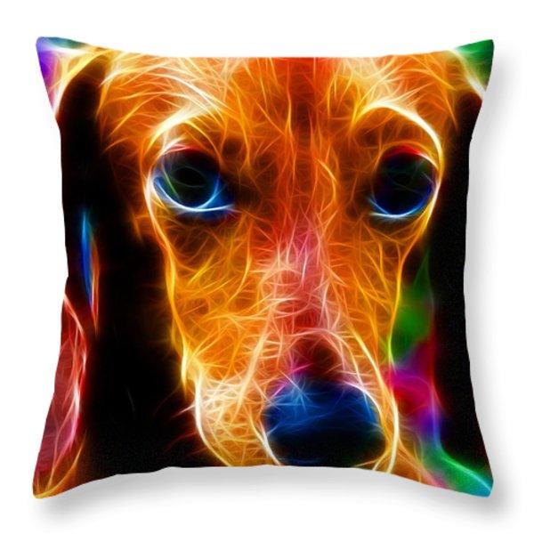 Magical Dachshund Throw Pillow by Paul Van Scott