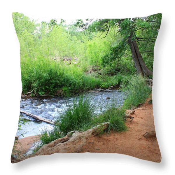 Magical Trees At Red Rock Crossing Throw Pillow by Carol Groenen