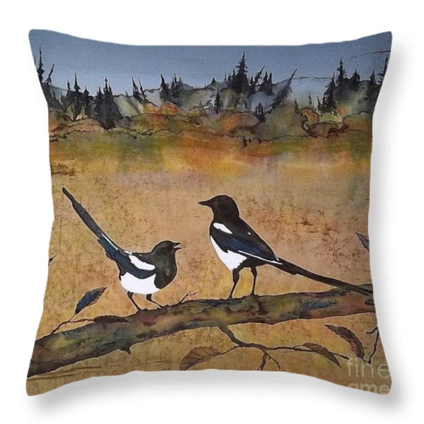 Magpies In The Last Of Autumns Leaves Throw Pillow by Carolyn Doe
