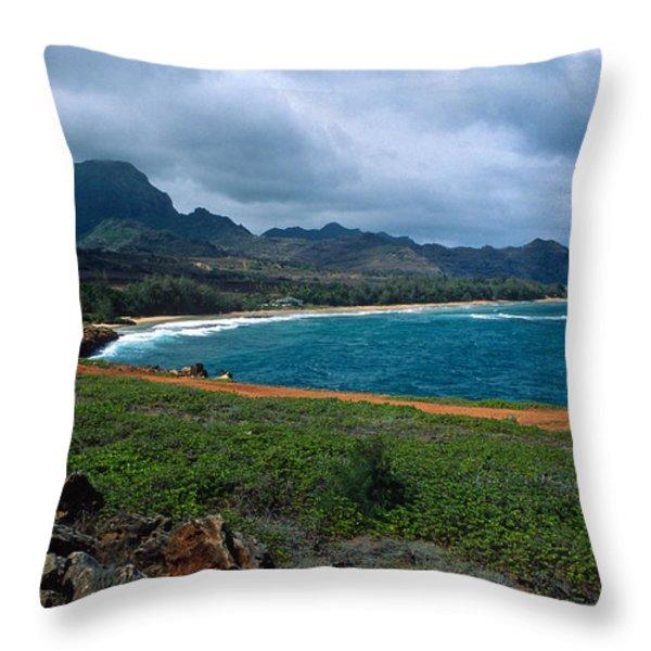 Maha'ulepu Beach Throw Pillow by Kathy Yates
