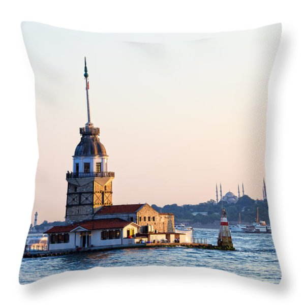 Maiden Tower In Istanbul Throw Pillow by Artur Bogacki