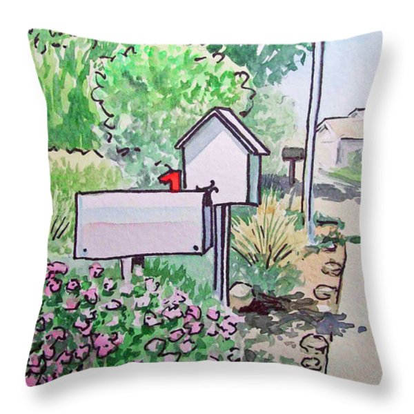 Mail Boxes Sketchbook Project Down My Street Throw Pillow by Irina Sztukowski