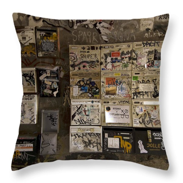 Mailboxes with graffiti Throw Pillow by RicardMN Photography