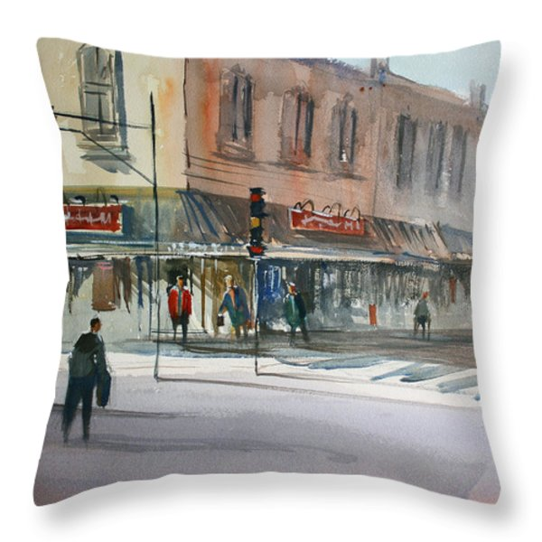 Main Street Marketplace - Waupaca Throw Pillow by Ryan Radke