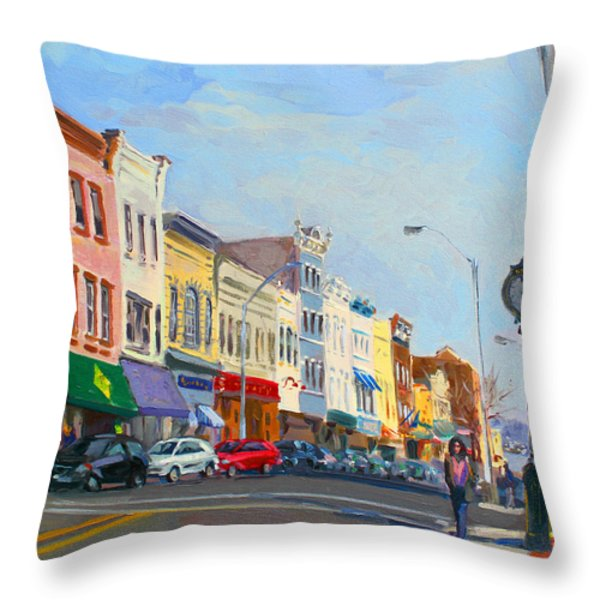 Main Street Nayck  NY  Throw Pillow by Ylli Haruni
