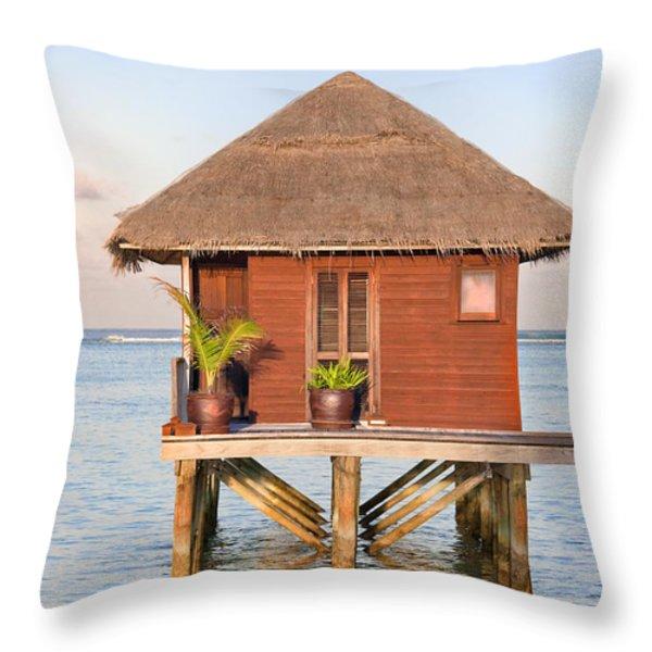 Maldives villa Throw Pillow by Jane Rix