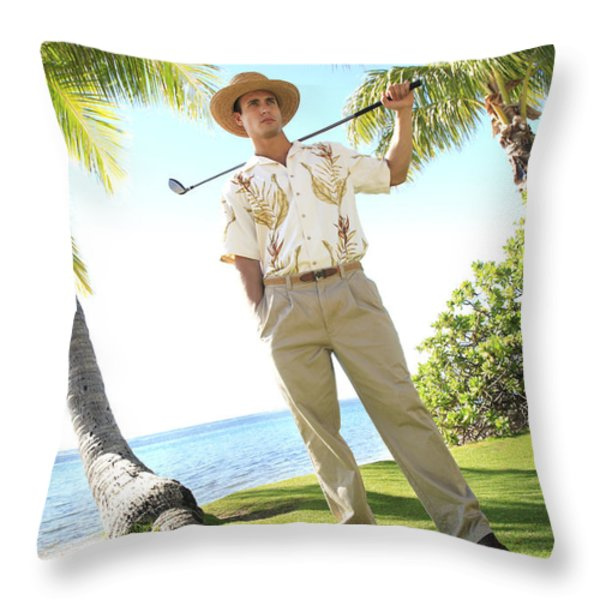 Male Golfer Throw Pillow by Brandon Tabiolo - Printscapes