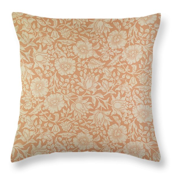 Mallow Wallpaper Design Throw Pillow by William Morris