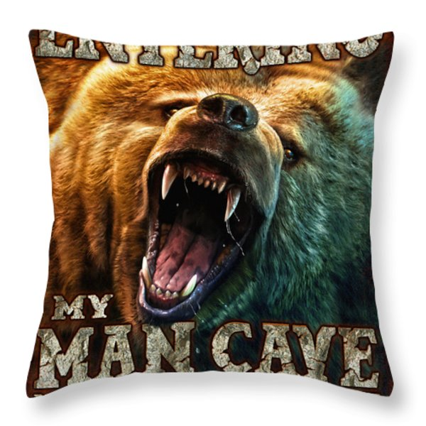 Man Cave Throw Pillow by JQ Licensing
