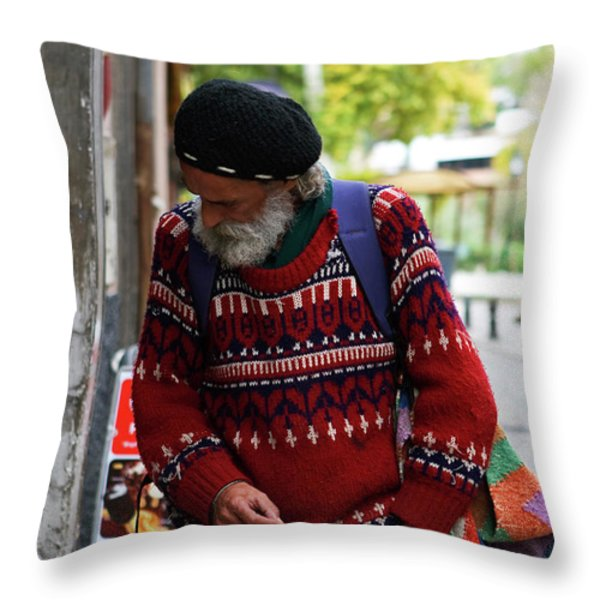 Man in a Red Sweater Throw Pillow by Lorraine Devon Wilke
