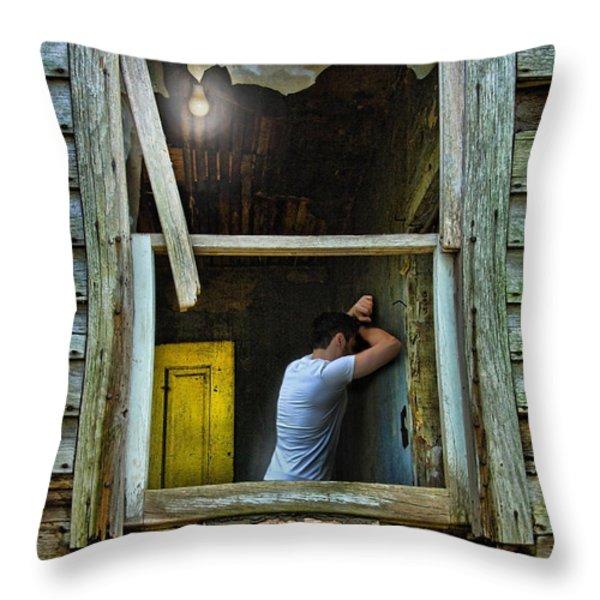 Man In Ruined House Throw Pillow by Jill Battaglia