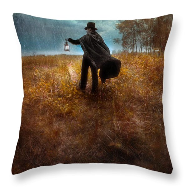 Man In Top Hat And Cape Walking In Rain Throw Pillow by Jill Battaglia