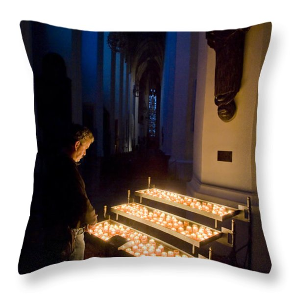 Man Prays By Candles At Frauenkirche Throw Pillow by Greg Dale