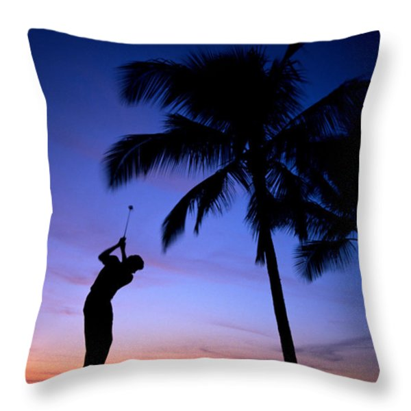 Man Swinging Driver Throw Pillow by Kyle Rothenborg - Printscapes