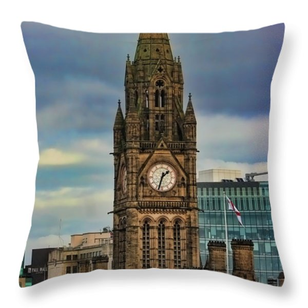 Manchester Town Hall Throw Pillow by Heather Applegate