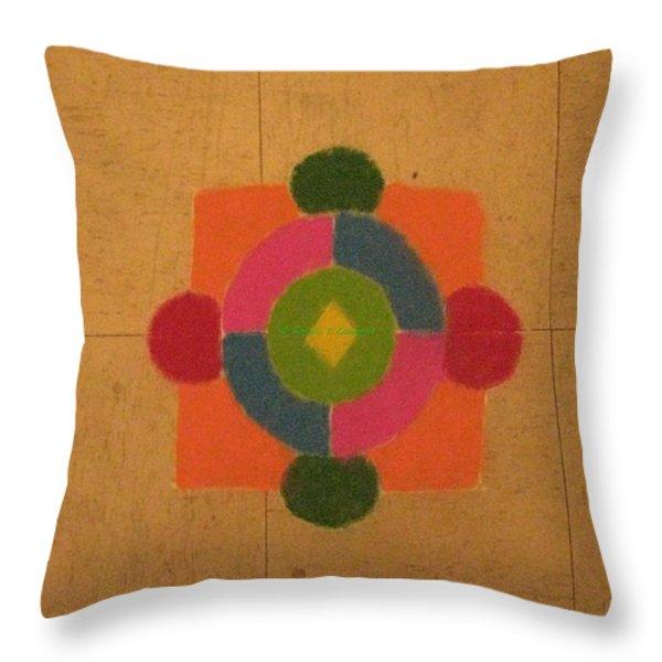 Mandal rangoli Throw Pillow by Sonali Gangane