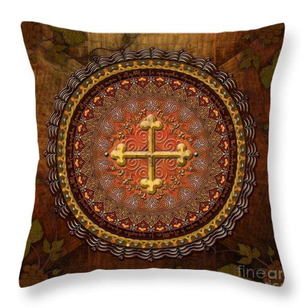 Mandala Armenian Cross Throw Pillow by Bedros Awak