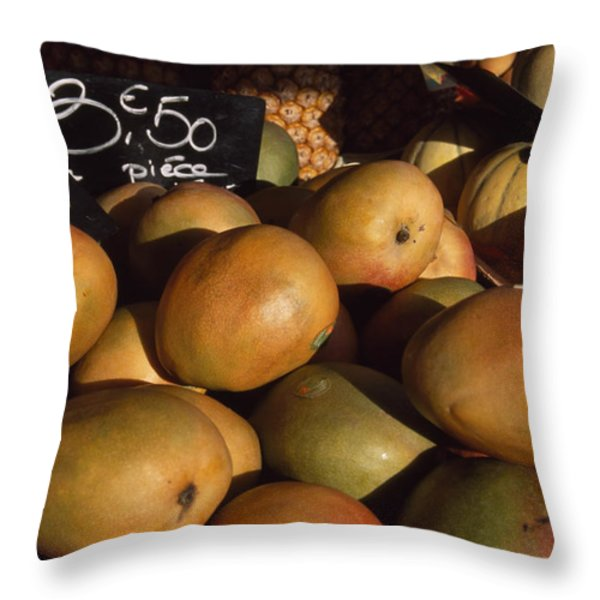 Mangoes And Melons Priced In Euros Throw Pillow by David Evans