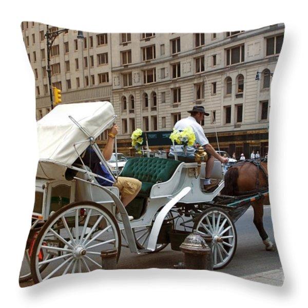 Manhattan Buggy Ride Throw Pillow by Madeline Ellis
