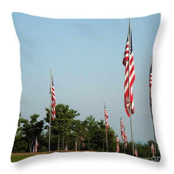 Many American Flags Throw Pillow by Renee Trenholm
