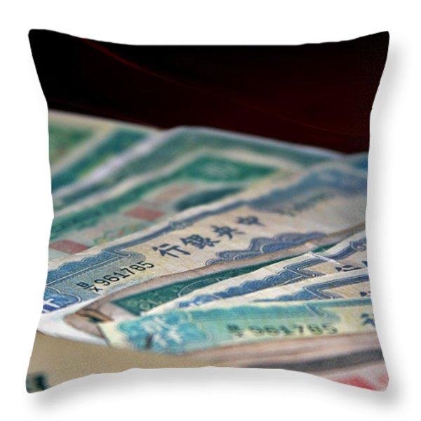 Mao is in every Chinese pocket Throw Pillow by Christine Till