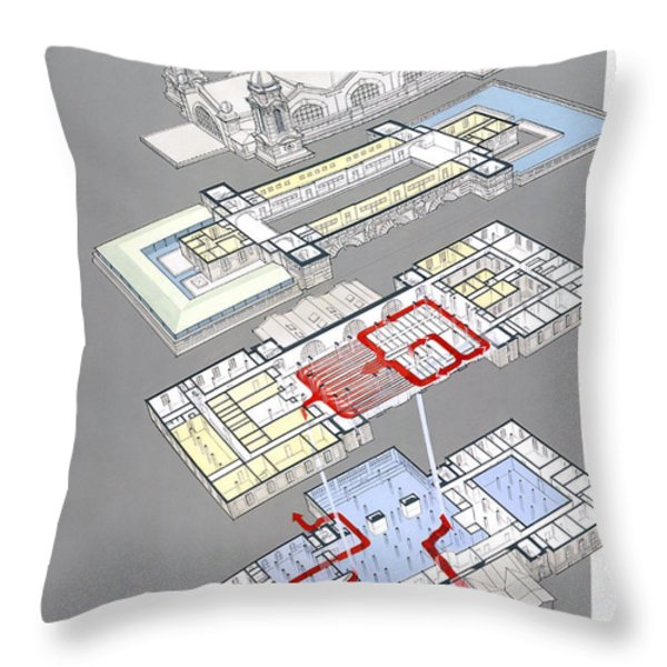Map Of 1907 Main Building At Ellis Throw Pillow by William H. Bond