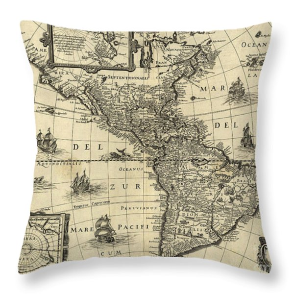 Map Of The Americas 1640 Throw Pillow by Photo Researchers
