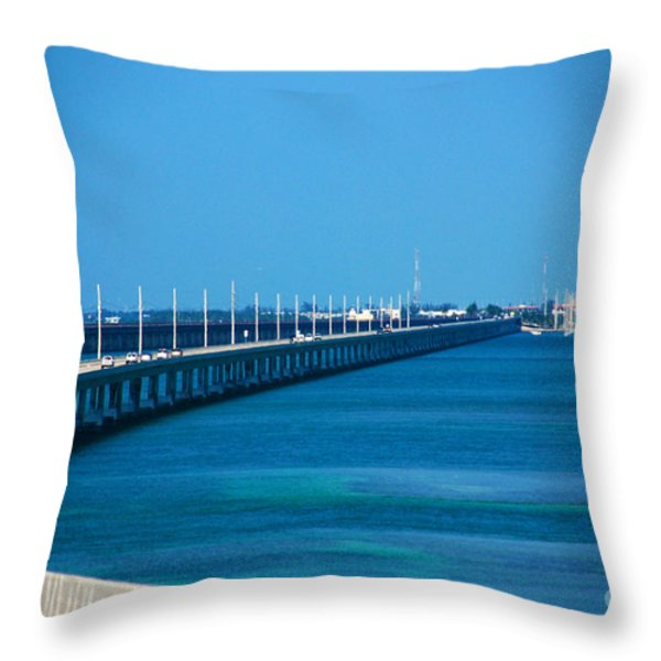 Marathon And The 7mile Bridge In The Florida Keys Throw Pillow by Susanne Van Hulst