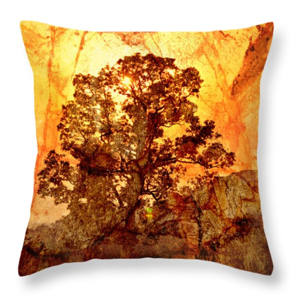 Marbled Tree Throw Pillow by Marty Koch